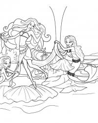 Раскраски барби русалка с подружками