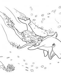 Раскраски барби плавает с дельфином
